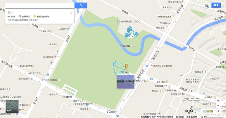 图为google地图显示成都金沙遗址博物馆有街景.