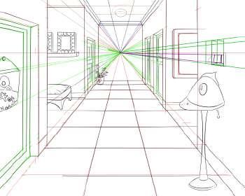 三点透视    通常用于高空俯视,或低视角仰视,多用于画超高层建筑透视