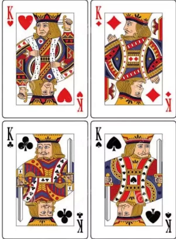 在扑克牌中,红桃k是唯一没有胡子的k