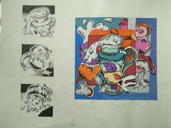 彩色装饰画  左边是三个竖的三视图小图案 忘了是几乘几的了.图片