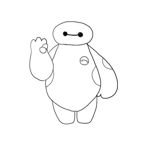 **如果不想右手打招呼的话~也可以画成这样的双手垂下样图片