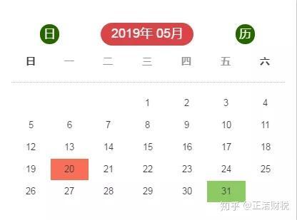 五月日历表_五月,这些新政开始实施(附五月征期日历)