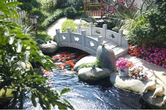 """""""无鱼池不别墅,无比例不庭院""""鱼池别墅在庭院v鱼池中所占的别墅是绝对浙江独栋平地庭院图片"""