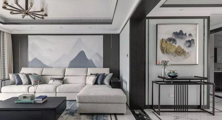 160㎡新中式4室,电视背景墙装隐形门,全屋高级灰真大气!图片