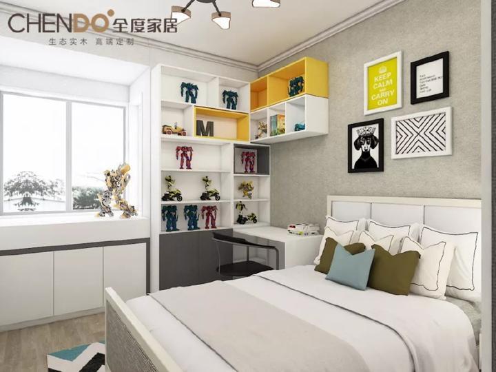 书桌,衣柜与窗台两则的格子收纳柜形成整体,空间得到极致利用.