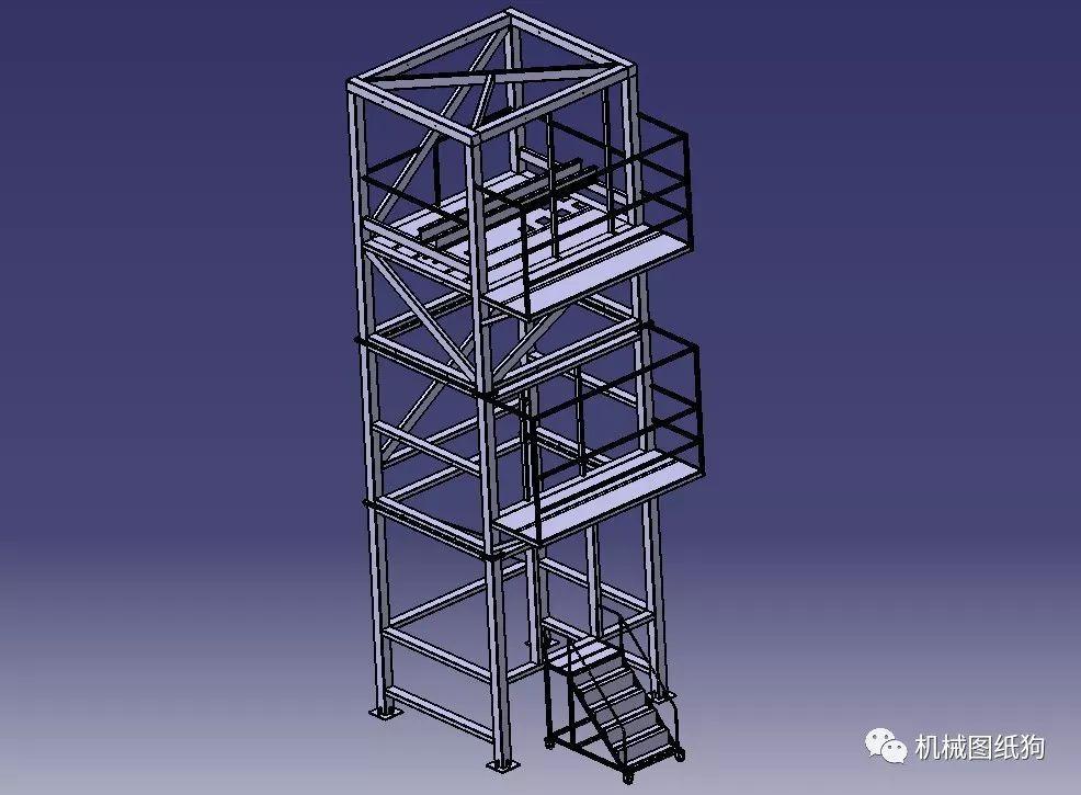 工程机械 观光梯电梯井道钢架结构3d模型图纸 stp格式