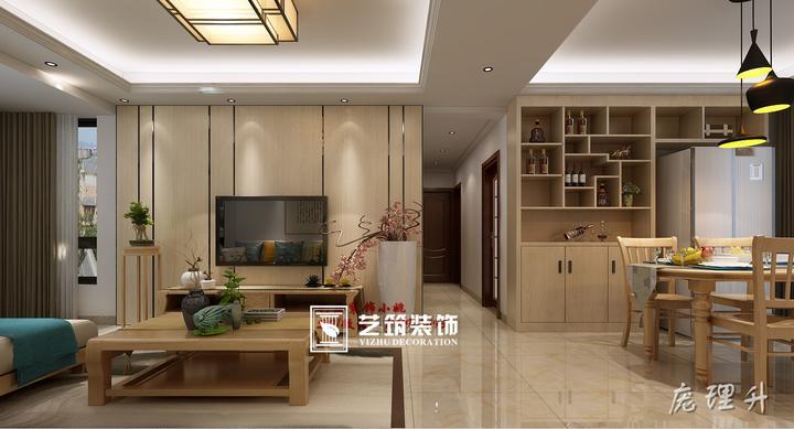 天誉花园 新中式风格 装修效果图;原木色的设计,不再是传统中式