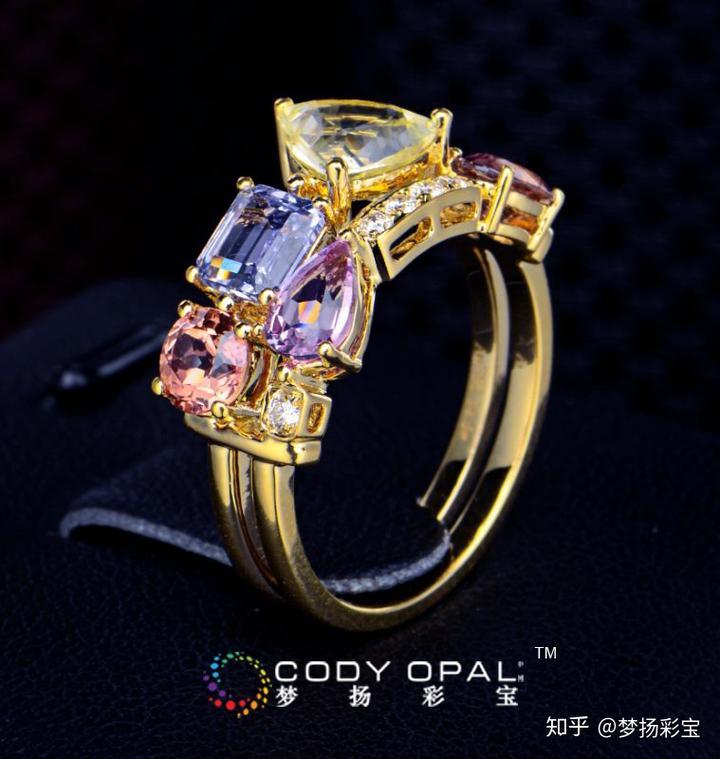 彩色宝石组合镶嵌戒指款式图片