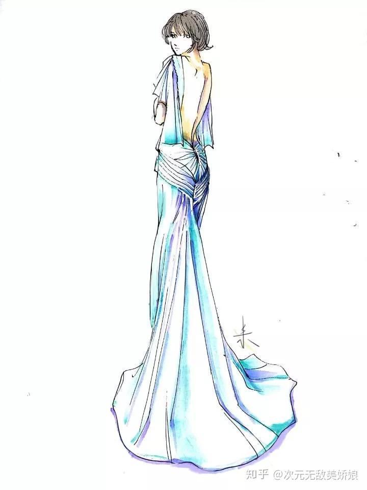 简单手绘婚纱论+�yf_新娘婚纱手绘合辑第二期