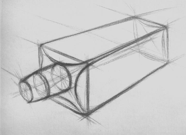 我们只需用铅笔轻轻地延长物体的轮廓线,各种透视关系都会变得清晰明