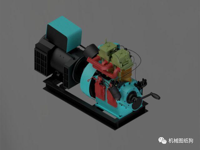 【发动机电机】petter ph2发电机模型3d图纸 igs格式