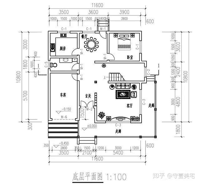 一层平面图,设计有堂屋兼客厅,餐厅,厨房,老人房和卫生间,另外还设有