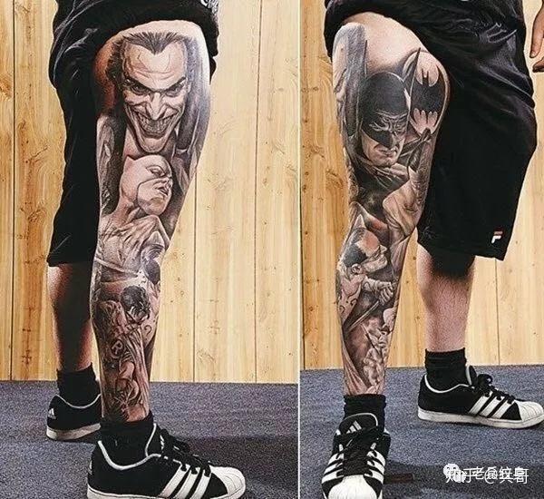 纹身素材第13期——男生花腿纹身图片