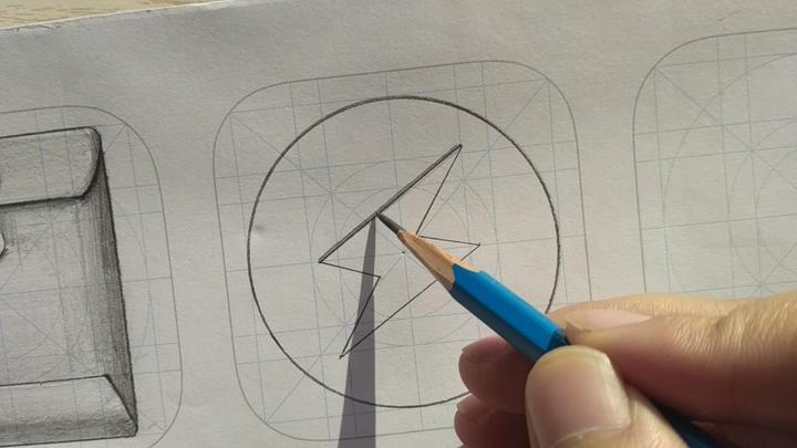 因为闪电图标是嵌在圆里面的,所以我们要做出凹陷的效果来.