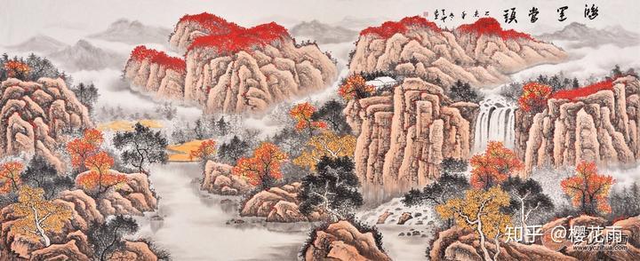 青年画家易天也山水画作品《鸿运当头》 作品来源:易从网图片