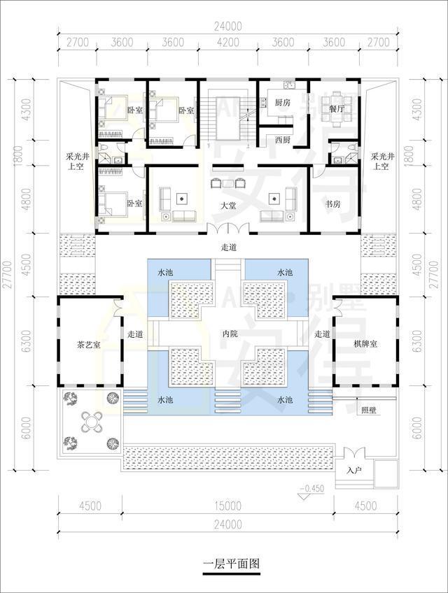 一层平面图:围合式三合院,庭院宽敞,景观优美.