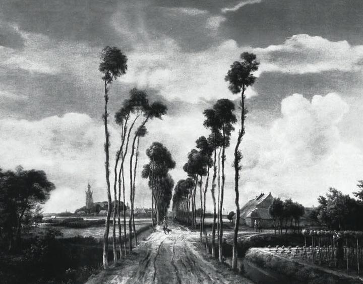 迈因德特·霍贝玛的油画《米德尔哈尼斯林荫道》(1689)图片