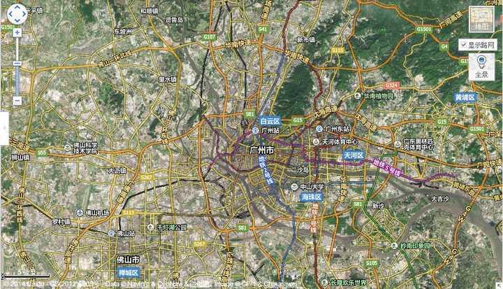 杭州卫星地图是这样的