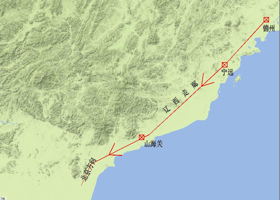 圖可點開看大圖 遼西走廊由錦州,寧遠(今遼寧興城),山海關組成,依次圖片