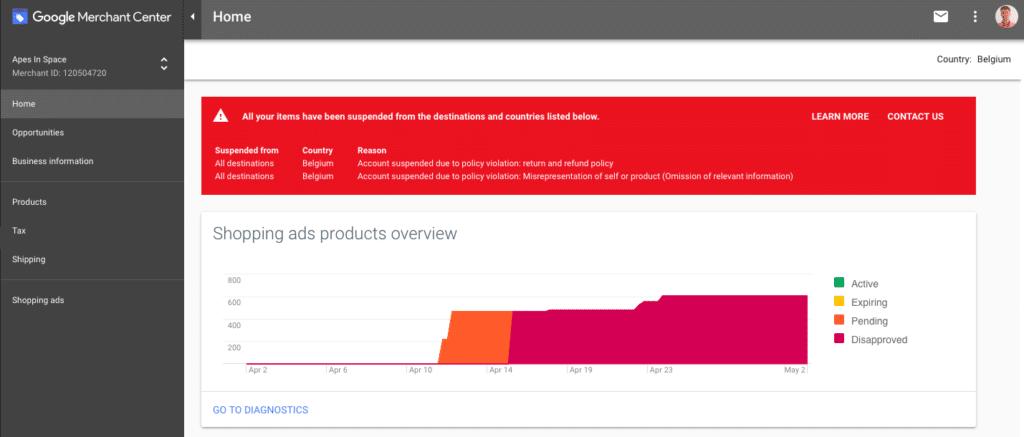 【Google shopping 】GMC广告投放禁止拒登以及账户被封的一些限制问题