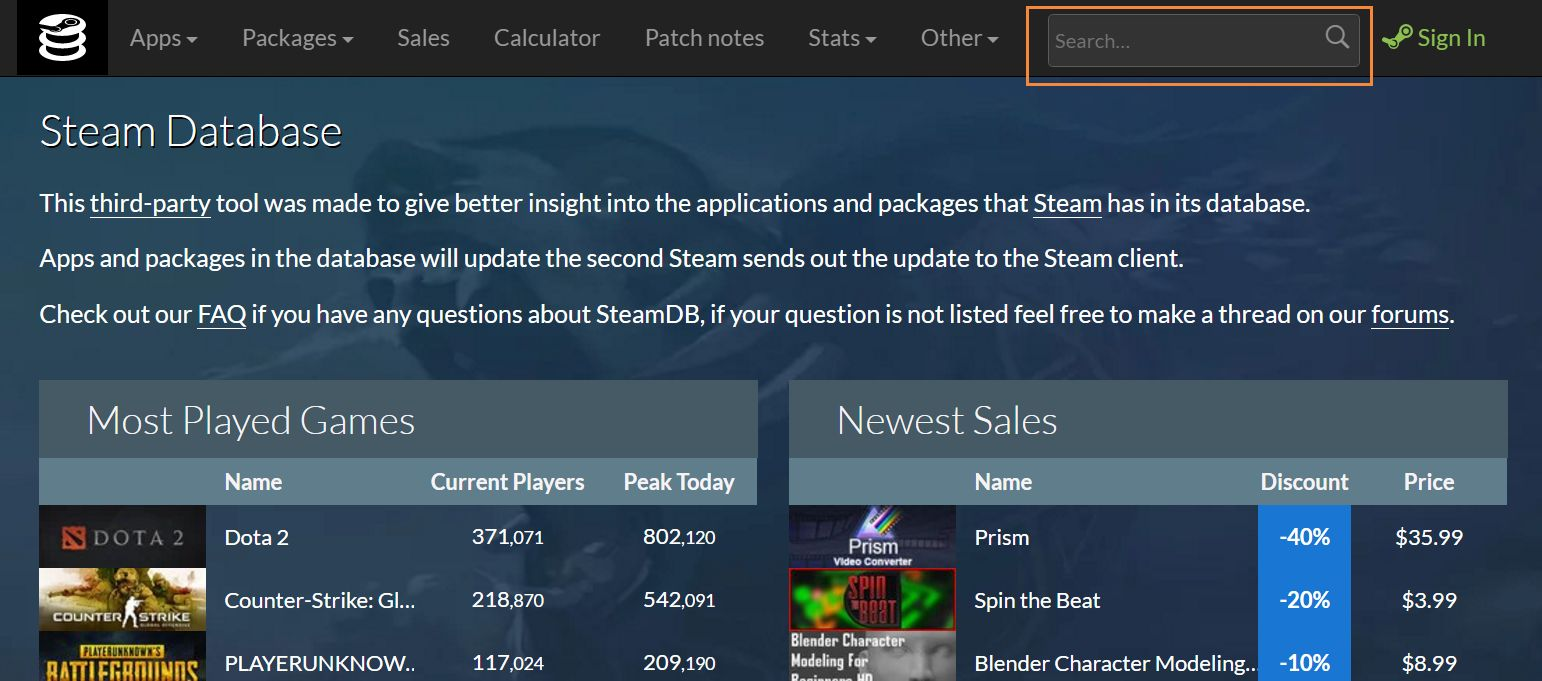 free packages steam database