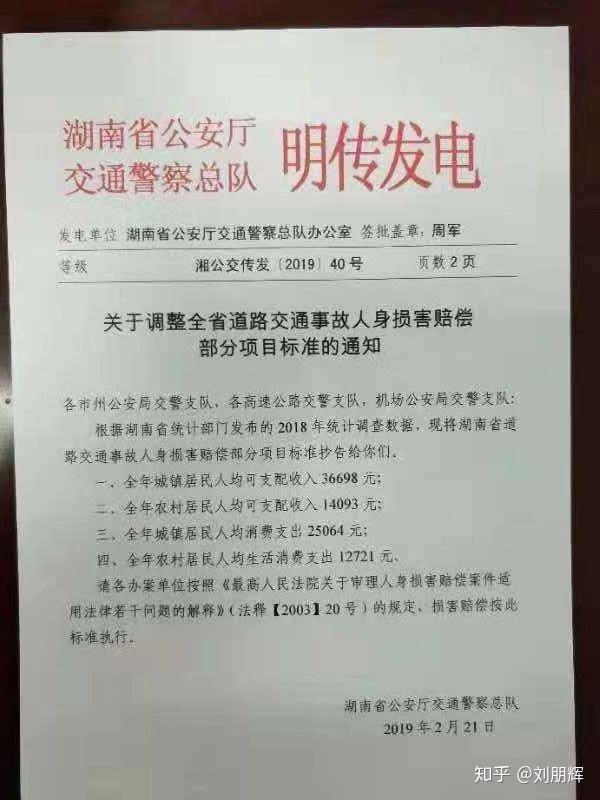 交通人身损害赔偿_2019-2020年度湖南省交通事故人身损害赔偿项目计算方法 - 知乎