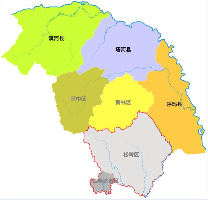 加格达奇市区地图