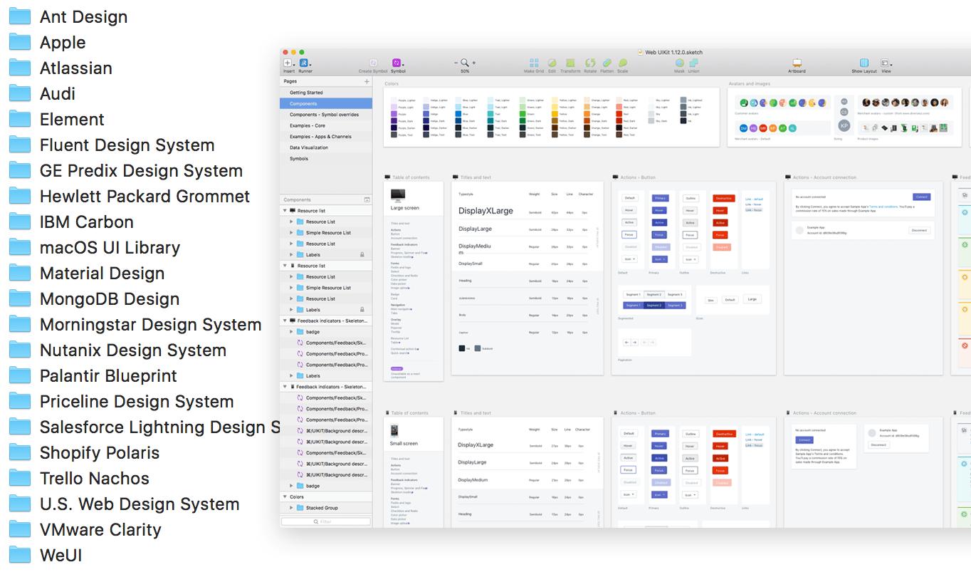 大公司如何做设计系统?25 个 Sketch 组件库源文件合集下载