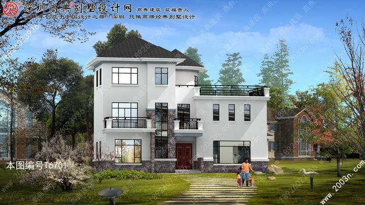 中式独栋别墅效果图三层半别墅设计图