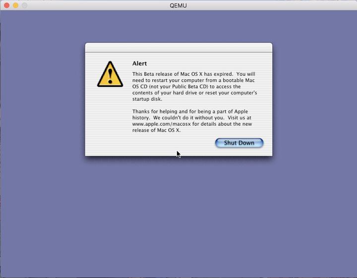 虚拟机体验Mac OS X Public Beta:在Qemu上运行早期版本的Mac OS