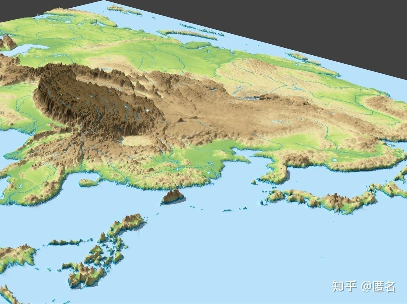 3D立体中国地势图——10M高清大图