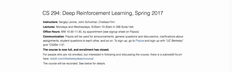【Berkeley CS 294:深度增强学习,2017年春季学期】学习资源(附字幕)